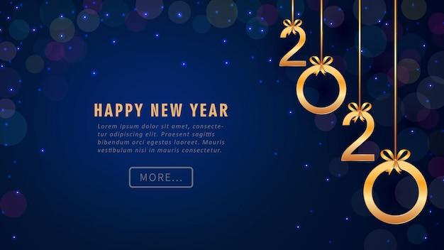 Gelukkig nieuwjaar 2020-wenskaart met hangende gouden nummers, glitter, bokeh. Premium Vector
