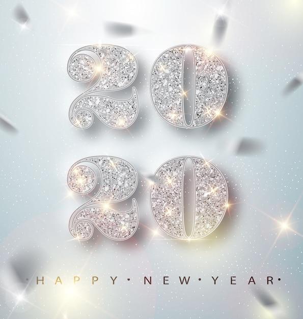 Gelukkig nieuwjaar 2020-wenskaart met zilveren cijfers en confetti Premium Vector