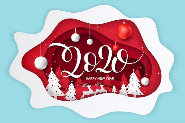 Gelukkig nieuwjaar 2020-wenskaart, ontwerp met papierkunst en ambachtelijke stijl. Premium Vector