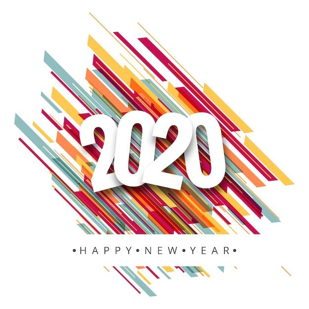 Gelukkig nieuwjaar 2020-wenskaart Gratis Vector