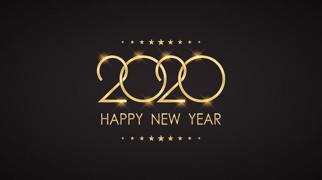 Gelukkig nieuwjaar 2020-wenskaart Premium Vector