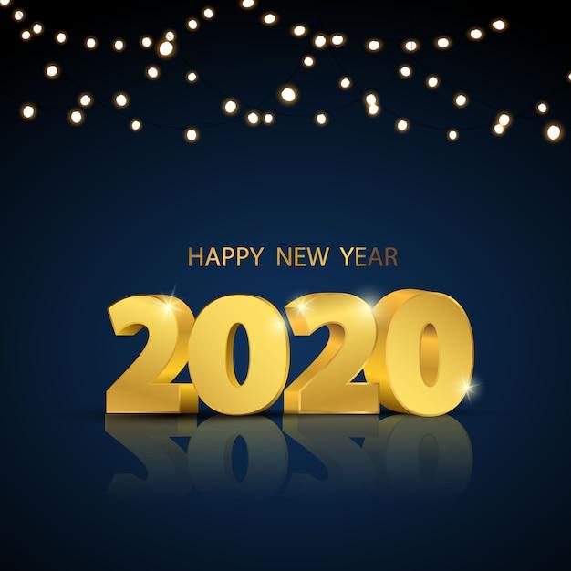 Gelukkig nieuwjaar 2020. wenskaartontwerp Premium Vector