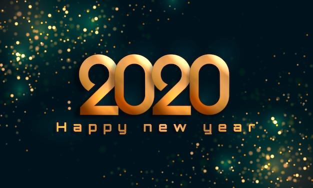 Gelukkig nieuwjaar 2020 Premium Vector