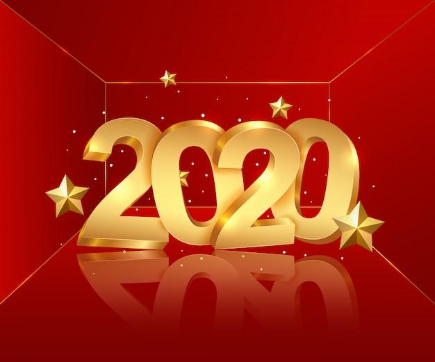 Gelukkig nieuwjaar 2020. Premium Vector