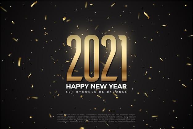 Gelukkig nieuwjaar 2021 achtergrond met illustratie van cijfers en vonken van vuurwerk Premium Vector