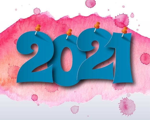 Gelukkig nieuwjaar 2021 aquarel thema. wenskaart 2021. abstracte achtergrond. Premium Vector