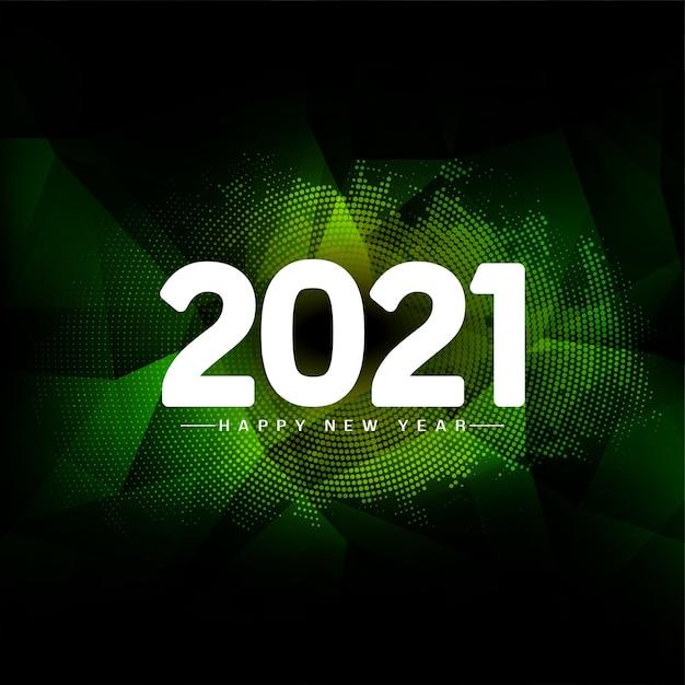 Gelukkig nieuwjaar 2021 groen geometrisch Gratis Vector