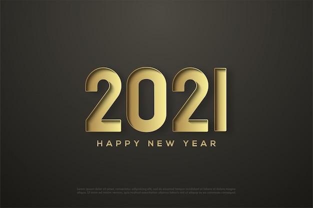 Gelukkig nieuwjaar 2021 met goudgedrukte cijfers Premium Vector