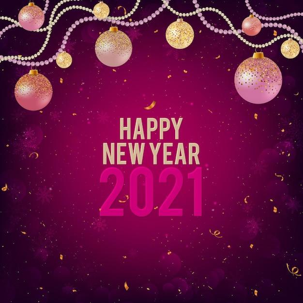 Gelukkig nieuwjaar 2021 paarse achtergrond met kerstballen Premium Vector
