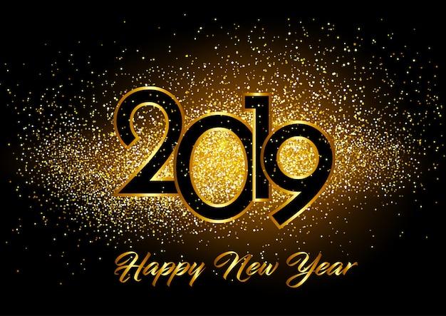Gelukkig nieuwjaar achtergrond met glitter effect Gratis Vector
