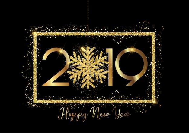 Gelukkig nieuwjaar achtergrond met gouden belettering en glittery sneeuwvlok ontwerp Gratis Vector