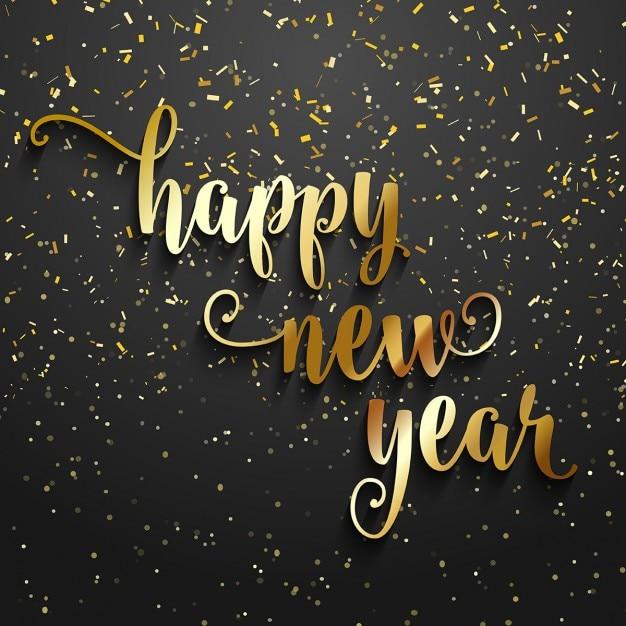 Gelukkig Nieuwjaar achtergrond met gouden confetti Gratis Vector