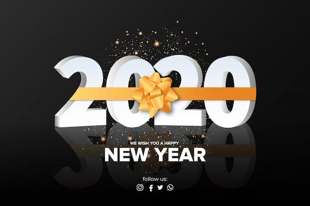 Gelukkig nieuwjaar achtergrond met gouden lint Gratis Vector