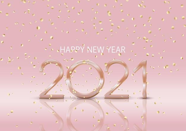 Gelukkig nieuwjaar achtergrond met vallende gouden confetti Gratis Vector