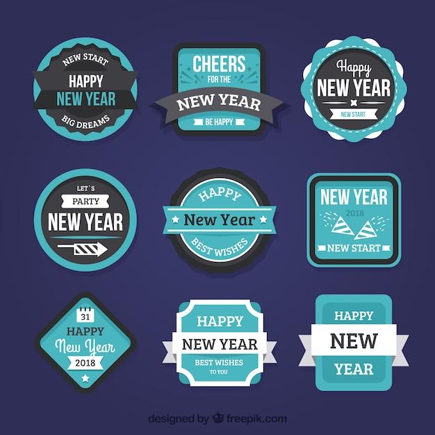 Gelukkig Nieuwjaar Badges En Stickers Vector Gratis Download