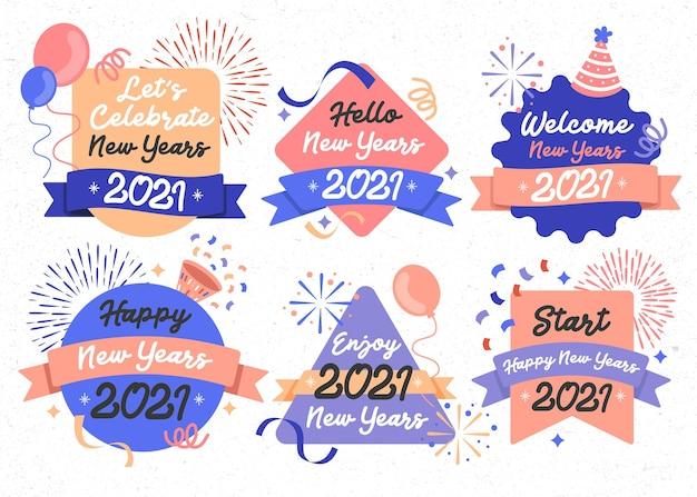 Gelukkig nieuwjaar banner 2021 party design celebration event set Premium Vector