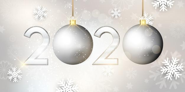 Gelukkig nieuwjaar bauble banner Gratis Vector