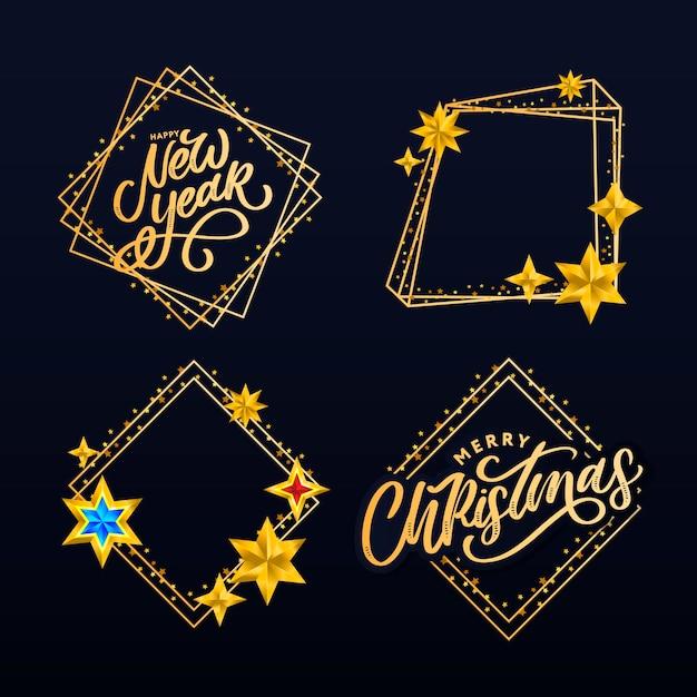 Gelukkig nieuwjaar. belettering compositie met sterren en fonkelingen. Premium Vector