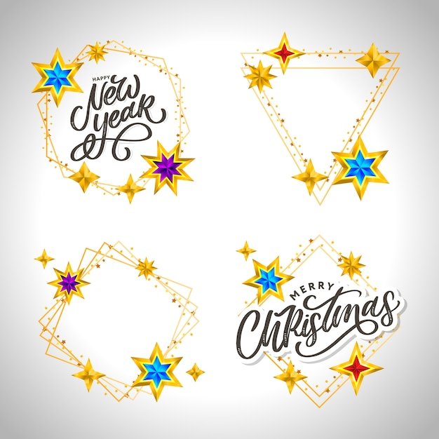 Gelukkig nieuwjaar. belettering compositie met sterren en glitters. Premium Vector