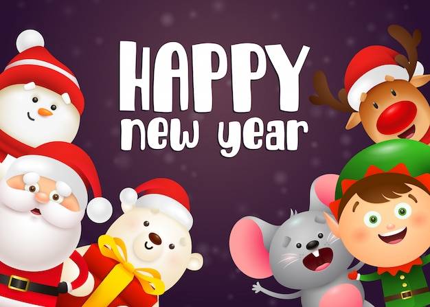 Gelukkig nieuwjaar belettering, elf, ijsbeer, muis, santa claus Gratis Vector