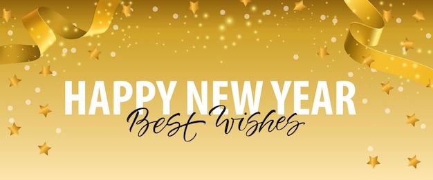 Gelukkig nieuwjaar, beste wensen belettering met gouden linten Gratis Vector