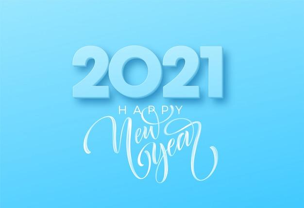 Gelukkig nieuwjaar borstel belettering op de blauwe achtergrond. illustratie Premium Vector