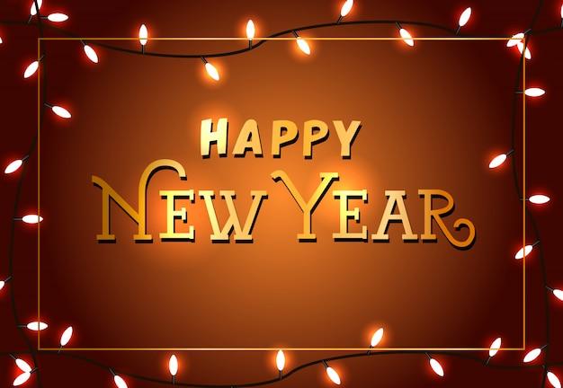 Gelukkig nieuwjaar feestelijke posterontwerp. kerstverlichting Gratis Vector