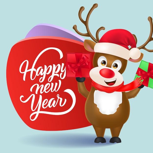 Gelukkig nieuwjaar flyer ontwerp. kerst rendieren met geschenken Gratis Vector