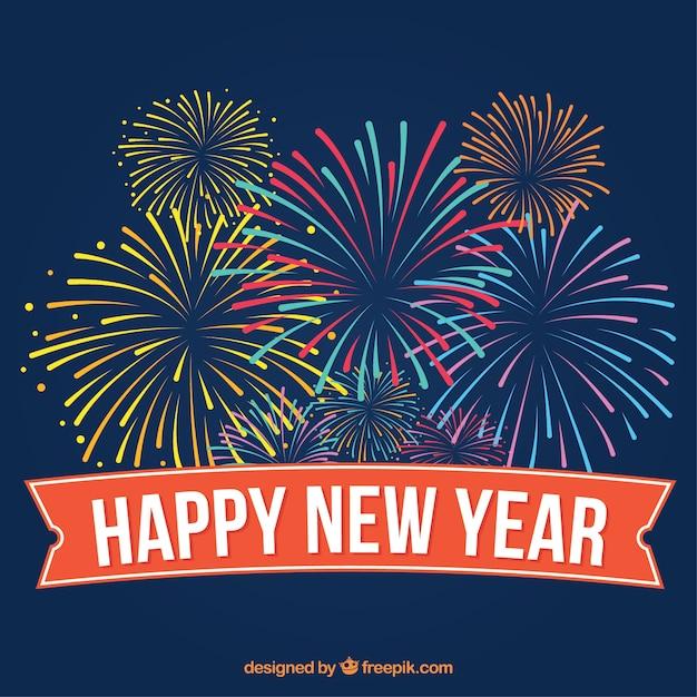 Gelukkig Nieuwjaar gekleurd vuurwerk achtergrond in vintage stijl Gratis Vector