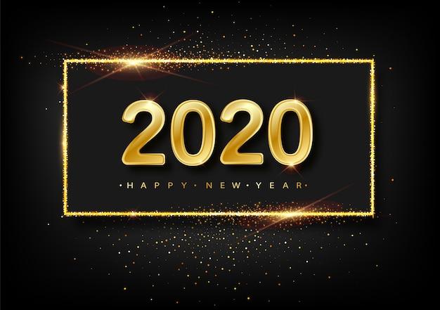 Gelukkig nieuwjaar glitter goud vuurwerk. gouden glinsterende tekst en 2020-nummers met sprankelende glans voor wenskaart voor vakantie. Premium Vector
