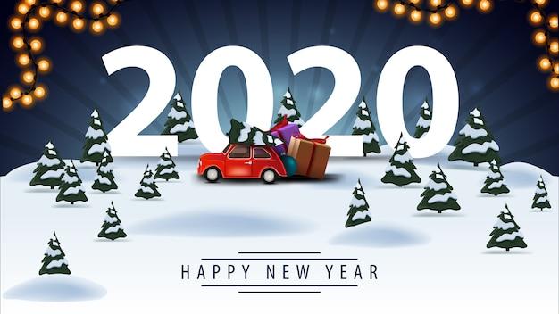Gelukkig nieuwjaar, groet blauwe ansichtkaart met cartoon winterlandschap en rode vintage auto Premium Vector