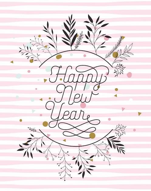 Gelukkig nieuwjaar kalligrafie kaart met bladeren kroon Gratis Vector