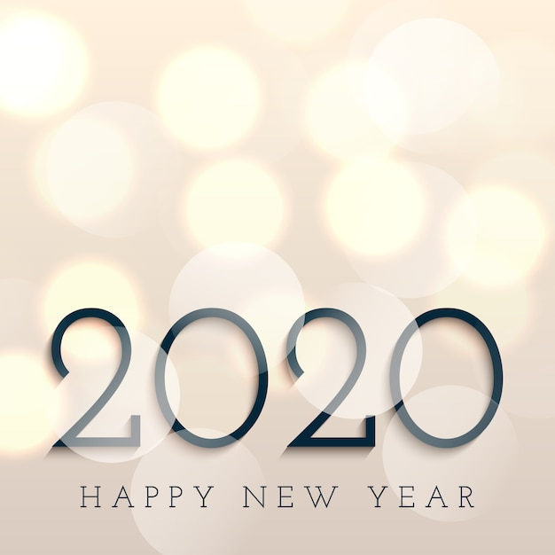 Gelukkig nieuwjaar met bokehlichten Gratis Vector