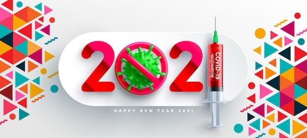 Gelukkig nieuwjaar met virus en rode covid-vaccinspuit, pandemisch concept Premium Vector