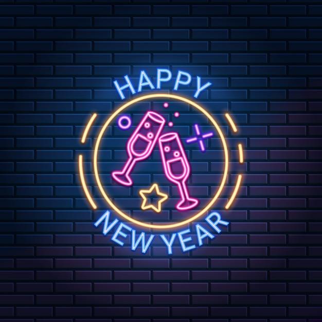 Gelukkig nieuwjaar neon teken tegen donkere bakstenen muur achtergrond. Premium Vector