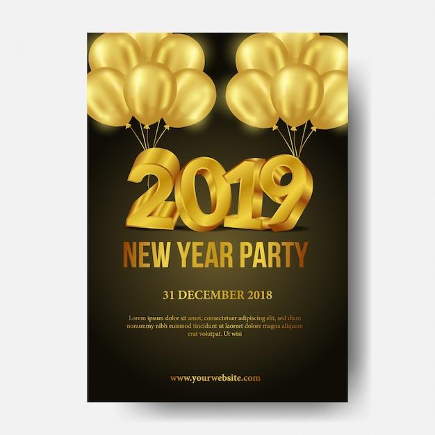 Gelukkig nieuwjaar partij poster sjabloon Premium Vector