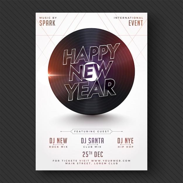 Gelukkig nieuwjaar party flyer of banner design. Premium Vector