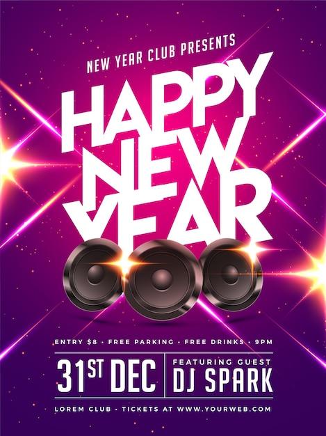 Gelukkig nieuwjaar party poster, banner of flyer design. Premium Vector