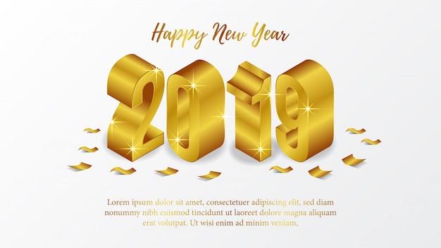 Gelukkig nieuwjaar poster met 3d-goud isometrisch Premium Vector