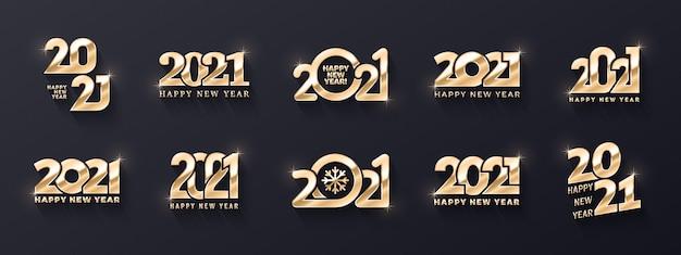 Gelukkig nieuwjaar premium gouden logo verschillende variaties d-tekstsjablonencollectie Premium Vector