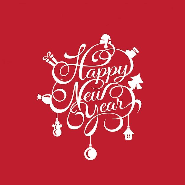 Gelukkig nieuwjaar tekst kalligrafische belettering kaartsjabloon Gratis Vector