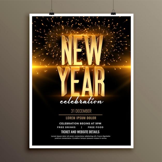 Gelukkig nieuwjaar uitnodiging flyer of poster sjabloon Gratis Vector