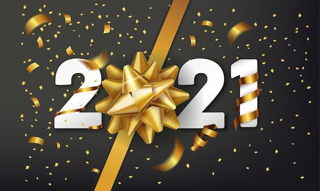 Gelukkig nieuwjaar vector achtergrond met gouden geschenk boog en confetti. Premium Vector