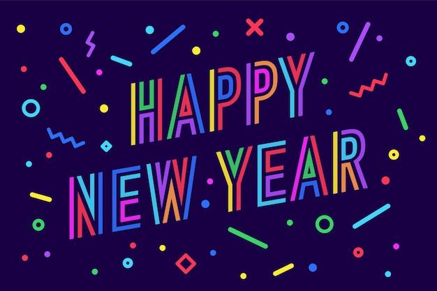 Gelukkig nieuwjaar. wenskaart met inscriptie happy new year Premium Vector