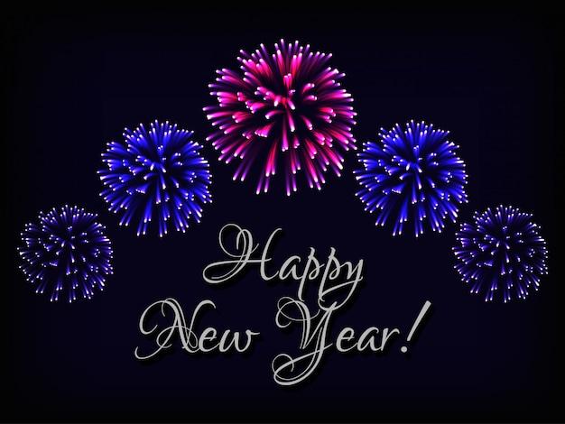 Gelukkig nieuwjaar wenskaart met tekst en vuurwerk Premium Vector