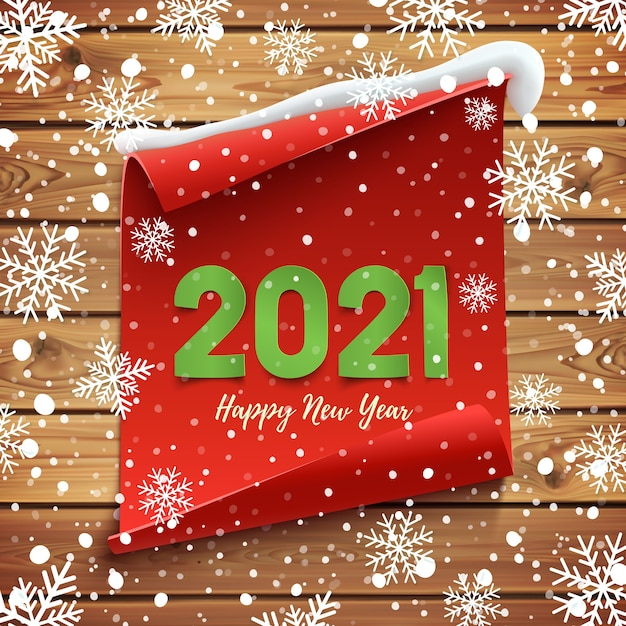 Gelukkig nieuwjaar wenskaart. rode gebogen banner op houten planken met sneeuw en sneeuwvlokken. Premium Vector