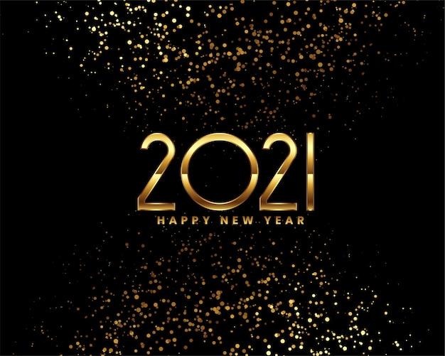 Gelukkig nieuwjaar zwart en goud wenskaart Gratis Vector