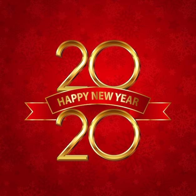 Gelukkig nieuwjaarskaart met gouden cijfers en rood lint Gratis Vector