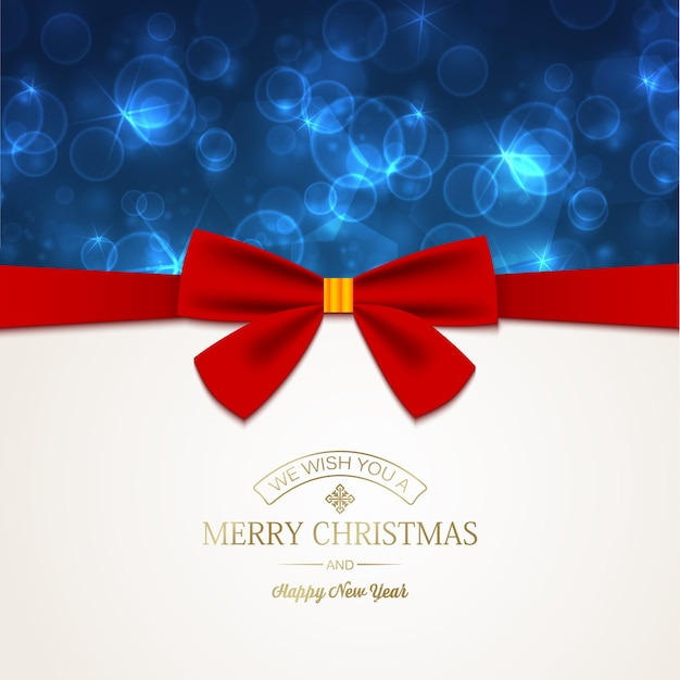 Gelukkig nieuwjaarskaart met groet inscriptie en rood lint strik op licht gloeiende sterren Gratis Vector