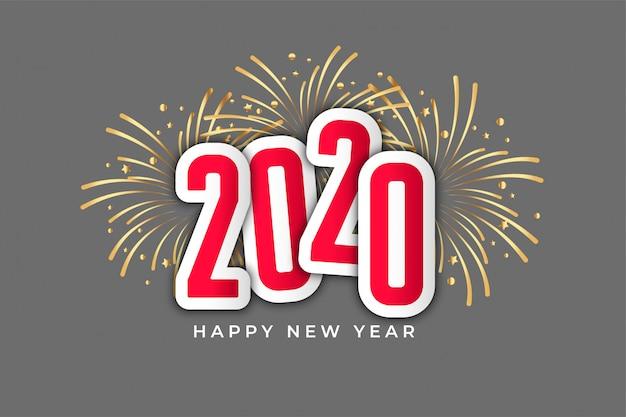 Gelukkig nieuwjaarsvuurwerk 2020 Gratis Vector
